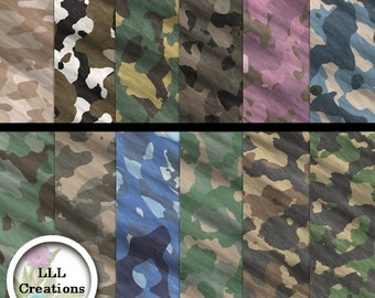 LLL Scrap Creations - Camouflage Paper Pack - Digital Scrapbooking