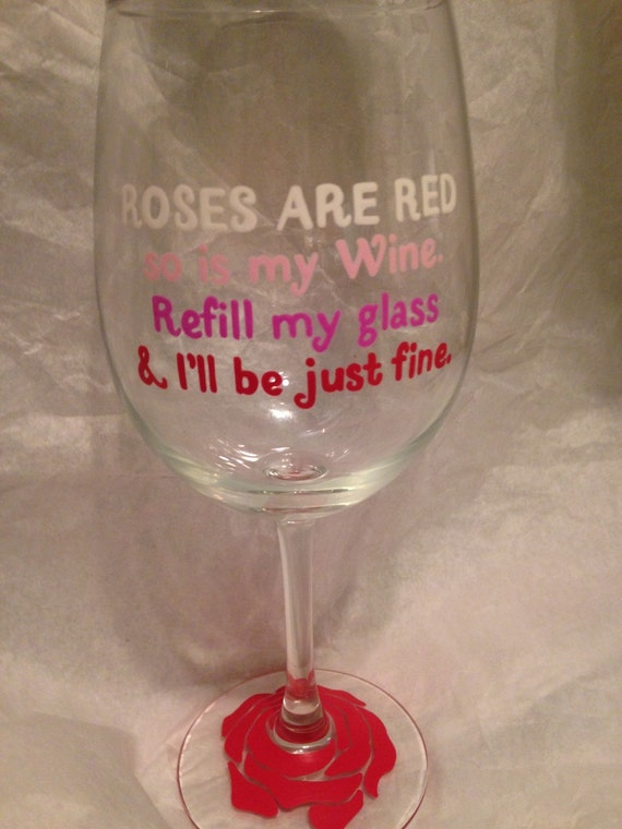 hand painted wine glass roses are red - Valentine Wine Glasses