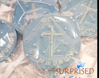 12 FIRST COMMUNION LOLLYPOPS, beautiful first communion chocolate crosses favors for holy communion - event decoration. Edible favors