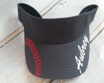 Softball visor; personalized softball visor, softball laces, team visor, softball mom, mesh visor