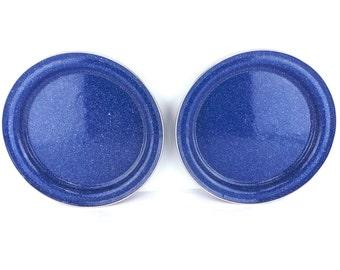 Lot of 2 Blue Spatterware, Enamelware Plate, Camping Equipment, Vintage Camping, Enamel Plates, Graniteware, Blue Spatter Ware