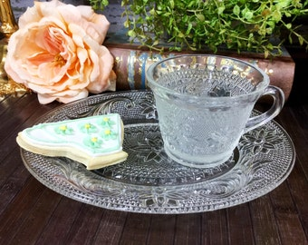 Set of 4 Oval Tiara Chantilly Clear Indiana Glass Company Tiara Design Snack Plates Tennis Plates W/Cups Tea Party, Gift #669