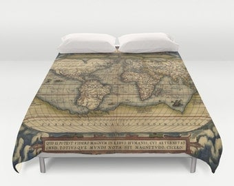 Contemporary bedding etsy old world map duvet cover doublefull queen king cover blanket bedding bed gumiabroncs Choice Image