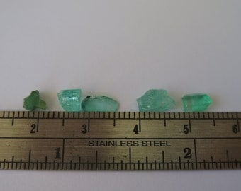 Rough Colombian EMERALD naturals without oil, lot of 5 pieces, READY to SHIP!