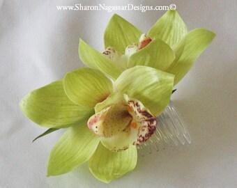 Green, cymbidium orchid, comb/clip, Real Touch flowers, silk, wedding/Bridal, hair flower, head piece