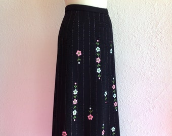 1960s Embroidered black maxi skirt