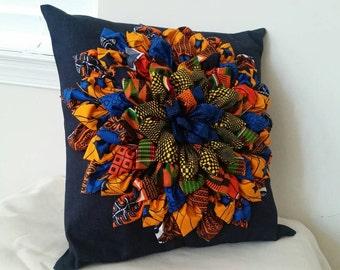 UNIQUE decorative Denim/Ankara pillow