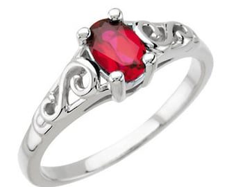 925 Sterling Silver Imitation GARNET Youth January Birthstone Ring USA 5