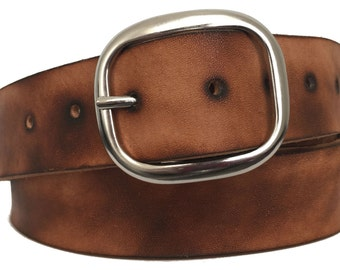 Raw Torched Leather Belt Strap - Full Grain Leather