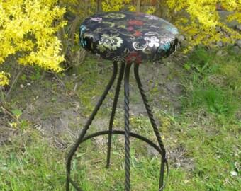 Vintage Barstool, wrought iron, with Chinese satin brocade-Madame Xiüan