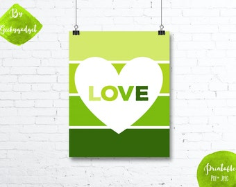 LOVE White heart and green paint chip - Nursery poster - Pdf printable, DIY, wall art, inspirational decoration, motivational