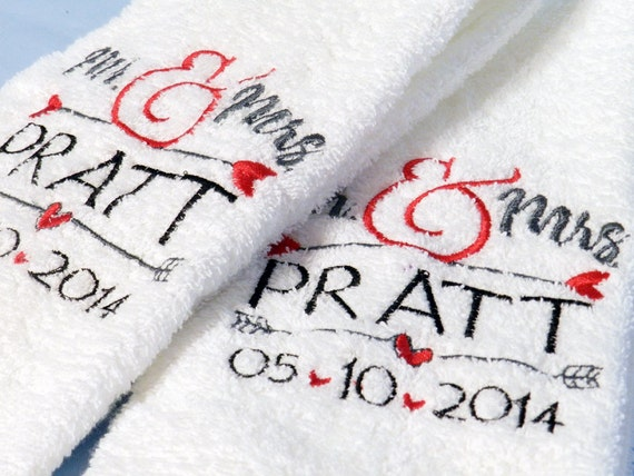 Personalised Wedding Gifts Towels : Mrs Towels- Set of Two- Personalized Wedding Gift- Embroidered Custom ...