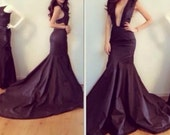 Floor length black dress made to measure- backless and v front prom wedding event valentines