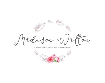 Logo Design Branding Package Premade Graphics Custom Text Watercolor Floral Circle Feather Wreath