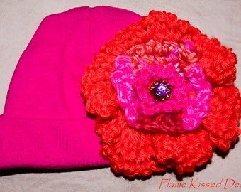 HAND CROCHETED FLOWER on 100% cotton stretchable baby hat
