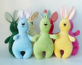 Stuffed rabbit toy 12 inch, Easter bunny plush Light blue Pink Green Red  Yellow hare plush bunny doll softie stuffed toys