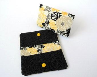 Business Card Holder, Reward Card Case Credit Card Holder Purse Accessory Loyalty Card Holder Card Organizer Mini Wallet Yellow Floral