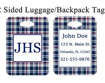 Custom Monogrammed Luggage, Briefcase or Backpack Tag Personalized Monogram Navy Blue Plaid Bag Tag #3026