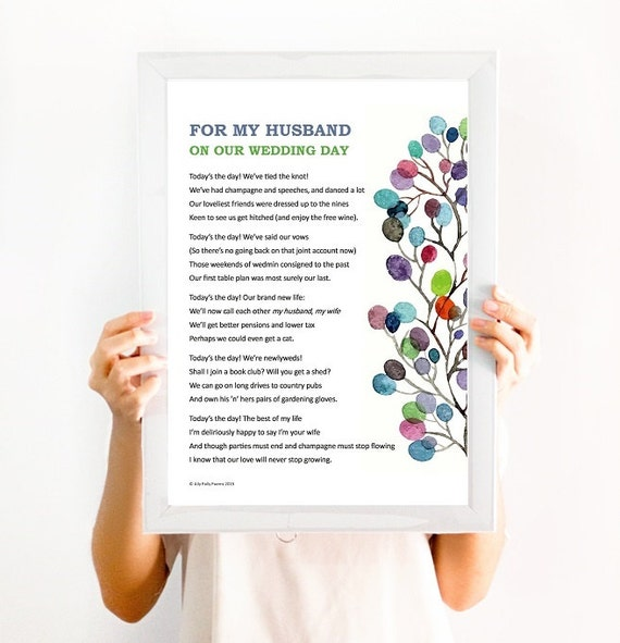 Romantic Wedding Night Gift For Husband : Framed romantic poem: For my wife/husband on our wedding day, the ...