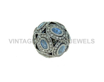 Blue Sapphire Bead Finding Pave Diamond Spacer 18 mm Ball Finding .925 Silver New Style Handmade Finding Jewelry Component VDJFI-4862(B.S)