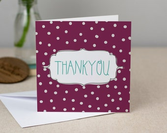 Thankyou Card - Hand-Drawn Polkdadot Greetings Card