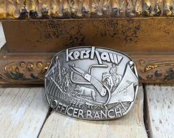 Kershaw belt buckle, Officer Ranch, Izee Oregon, Knife Buckle, Hunter Belt Buckle, Pewter Belt Buckle, Pewter Buckle, Knife Belt Buckle