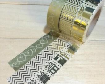 Foil Gold PresentWashi Tape/Japanese Washi Tape / Deco tape TZ1126