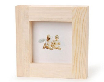 Natural Wood Unfinished Craft Frame - 4.9 x 4.9 Frame 3x3 inches opening CLEARANCE FR10