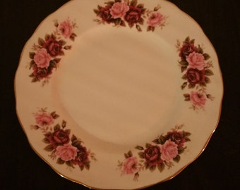 Queen Ann plate hand painted with pink and purple flowers