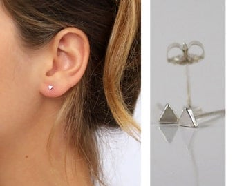 Tiny Triangle stud earrings, Sterling Silver stud , Geometric Studs , Minimal Earrings,