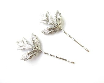 2 x Silver Thistle Leaf Hair Clips Bobby Pins Bridal Scottish Wedding Slides T63 Scotland Leaves Grips Two Vintage