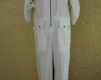 Vtg 80s 90s Women's White Off White Minimalist Jumpsuit Playsuit Romper Onesie