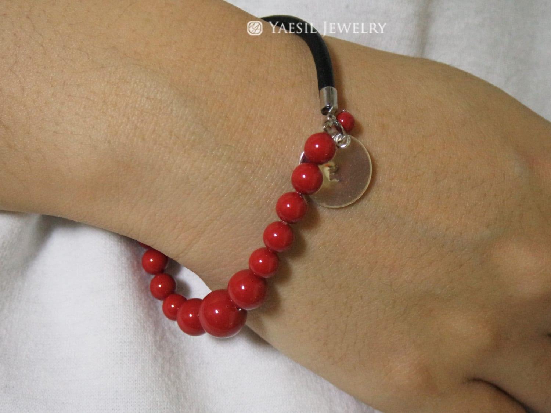 leather pearl bracelet initial bracelet stretch by. Black Bedroom Furniture Sets. Home Design Ideas