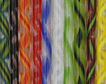 Twisted Canes-Set of 10-Assorted Colors-COE 96-Blown Glass supplies-Fused Glass supplies-Canes-Glass Canes