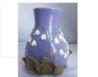 Ceramic lily-of-the-valley blue and white vase unique hand made