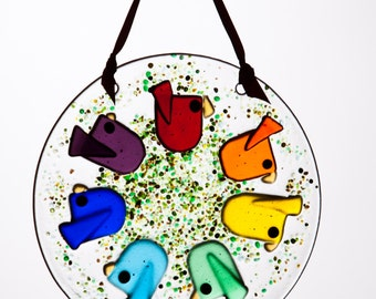 Handmade Fused Glass Rainbow Bird Suncatcher with Attached Copper Wire Hanger