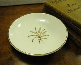Nobility Permaware - Berry Bowl - Dessert Bowl - Tan and Brown Wheat - Gold Accent