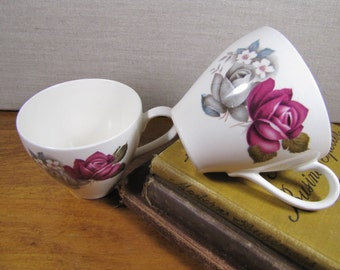 Rose Bouquet Teacups - Set of Two - Gray and Red Roses - Made in Japan