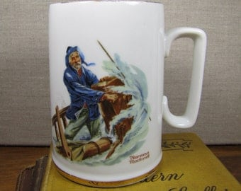 Norman Rockwell Mug - Braving The Storm - Gold Accent