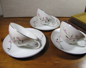 Cherry Blossom Fine China - Teacups and Saucers - Three (3) Sets