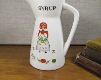 Vintage Folk Art Syrup Dispenser / Pitcher