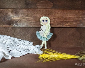 Brooch doll made of polymer clay handmade 2