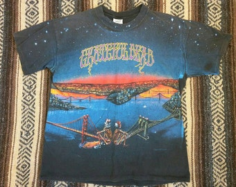 Grateful Dead 1990 tour shirt original authentic vintage band tee rock and roll shirt black XL golden gate Brooklyn bridges skeletons RARE