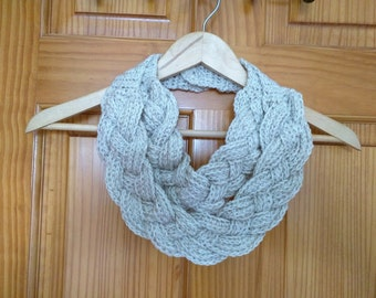 Crochet Double Layered Braided Cowl in Pearl Mist