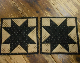 Quilted Star Potholders/Quilted Hot Pads/Handmade Potholders/Country/Handmade/Item #482