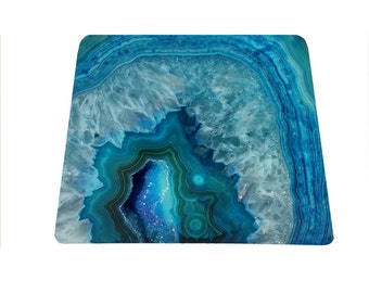 Agate stone blue geode druse mouse pad mineral mousepad crystal mouse mat rectangle