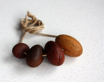 Modern Minimalist Australian Timber Recycled Salvaged Natural Wood Beaded Necklace