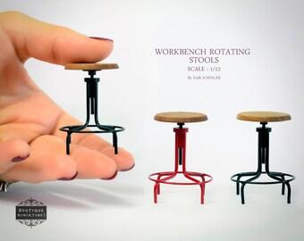 Miniature iron WORKBENCH STOOL, rotating, rotate, mid century, dollhouse, kitchen, modern, furniture, chair, tabouret, artisan