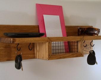 Rustic Mail Organizer/Key Rack/ Double Shelf/Wall Decor/Entryway/Honey Oak Finish