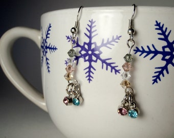 Blue and Pink Dangle Earrings